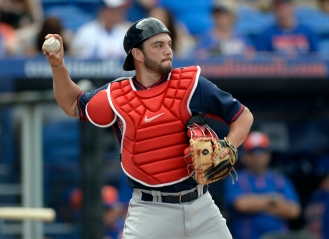 (Port St. Lucie, FL, 03/08/15) Boston Red Sox catcher Blake Swihart works behind the plate against the New York Mets during a Major League Baseball spring training baseball game against the New York Mets at Tradition Field in Port St. Lucie, Florida on Sunday, March 08, 2015. Staff photo by Christopher Evans